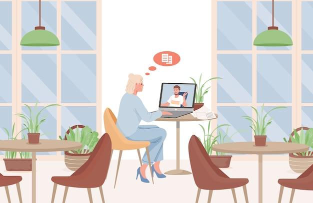 Junge frau, die im café sitzt, das mit mann über videokonferenz flache illustration spricht.