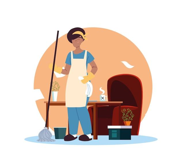 Junge frau, die im reinigungsdienst zu hause desing arbeitet