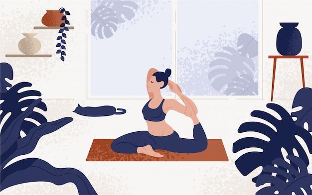 Junge frau, die in der yoga-haltung sitzt und meditiert. mädchen, das aerobic-übung und morgenmeditation zu hause durchführt. illustration im flachen karikaturstil.