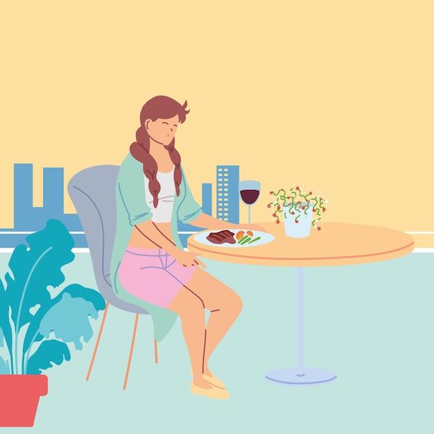 Junge frau, die in einem schönen restaurant sitzt, das abendessen mit einem glas weinillustrationsdesign hat