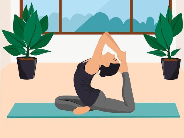 Junge frau, die in einer yogahaltung sitzt. mädchen, das zu hause aerobic-übungen und morgenmeditation durchführt.