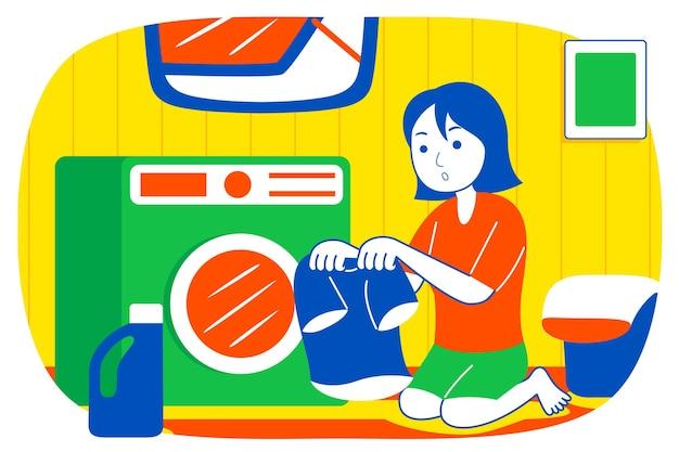 Junge frau, die kleidung mit waschmaschine wäscht.