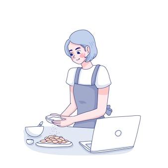 Junge frau, die koch online illustration lernt