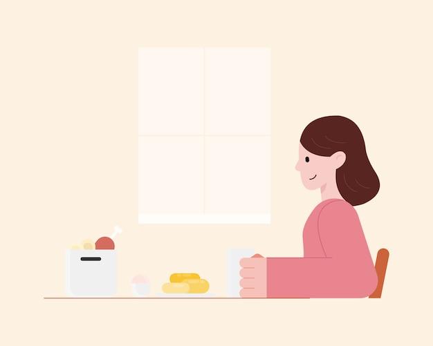Junge frau, die köstliches essen in der küche isst. kochen zu hause konzept. zeichentrickfigur illustration.