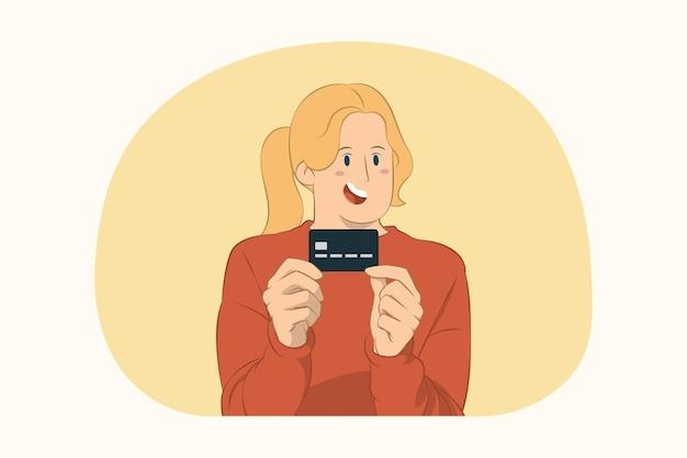 Junge frau, die kreditkartenbankkonzept zeigt