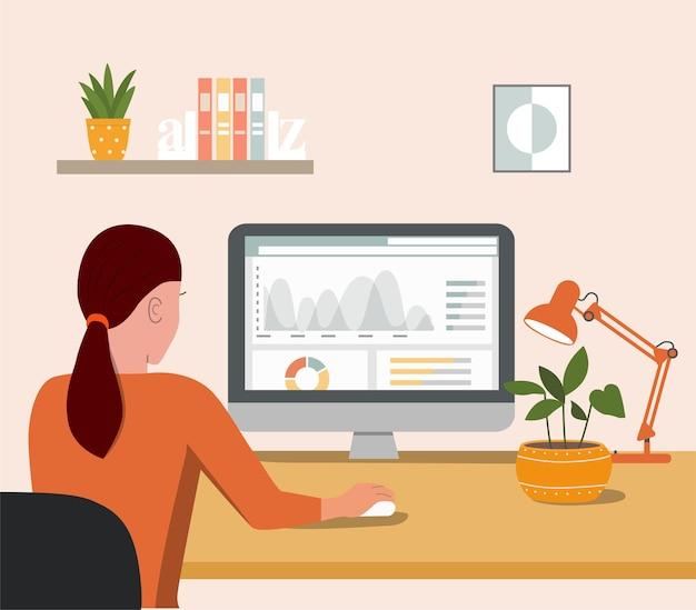 Junge frau, die mit einem computer arbeitet. rückansicht. flache artkarikaturillustration