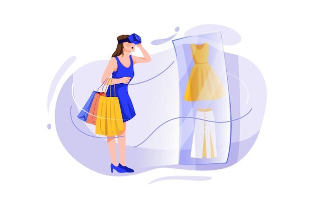 Junge frau, die online-shopping durch virtuelle technologie tut