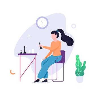 Junge frau, die schach spielt. brettspielspieler, der am tisch sitzt. kluges mädchen. illustration mit stil