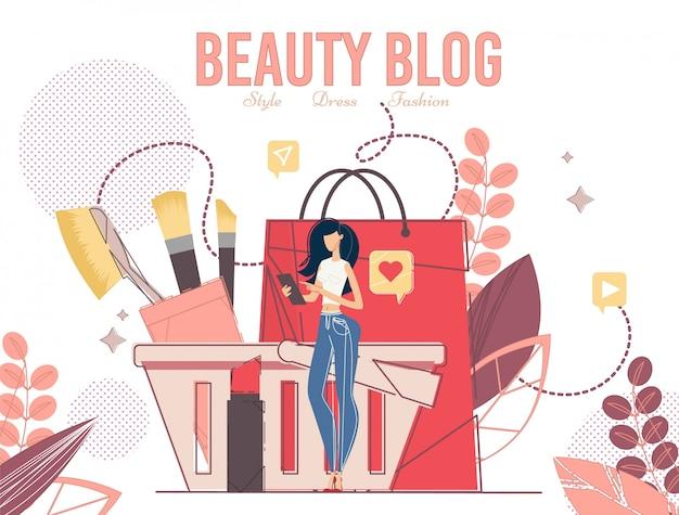Junge frau, die schönheits-blog verwendet
