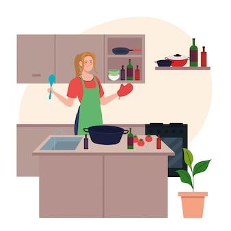 Junge frau, die schürze kocht mit utensilien und gemüse verwendet
