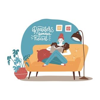 Junge frau, die sich auf gelbem sofa entspannt und buch zu hause liest, gezeichnete flache illustration des vektors hand