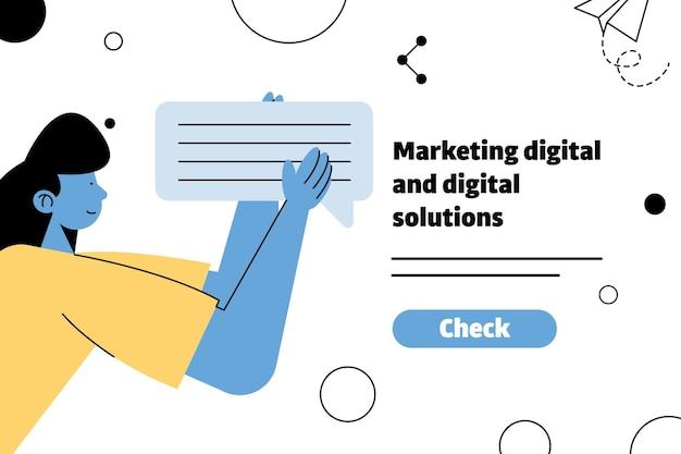 Junge frau, die sprechblase und marketing digitaler beschriftungsillustrationsentwurf anhebt