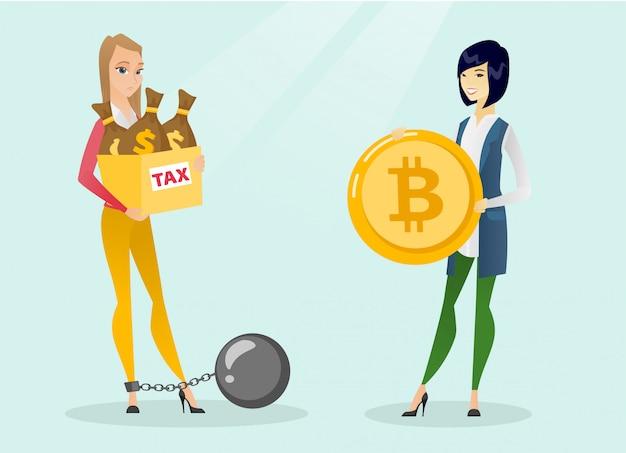 Junge frau, die steuerfreie zahlung durch bitcoins wählt.
