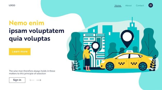 Junge frau, die taxi über flache illustration der mobilen app nimmt