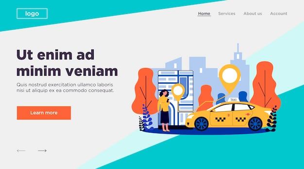 Junge frau, die taxi über illustration der mobilen app nimmt