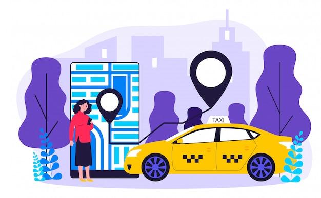 Junge frau, die taxi über mobile app illustration nimmt
