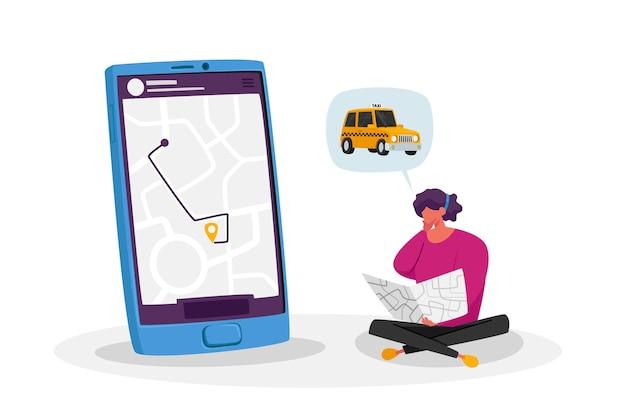 Junge frau, die taxifahrer mit mobiler anwendung auf smartphone bestellt. weiblicher kundencharakter, der auto mit karte in händen wartet