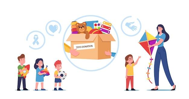 Junge frau, die verwaisten kindern spielzeug um kartonspendenbox mit waren für kinder gibt. weibliche freiwilligen-charakter fürsorgliche altruistische hilfe für arme kinder, wohltätigkeit. cartoon-menschen-vektor-illustration