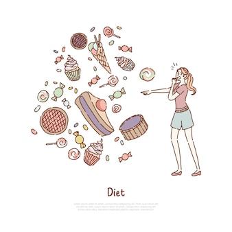 Junge frau, die vor kalorienreichen produkten angst hat