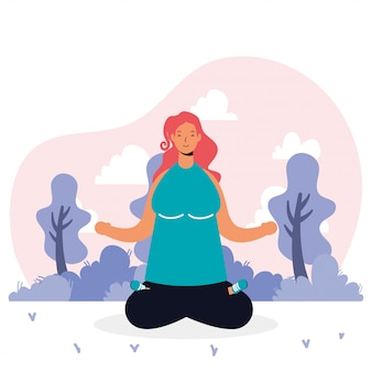Junge frau, die yoga avatar charakter praktiziert
