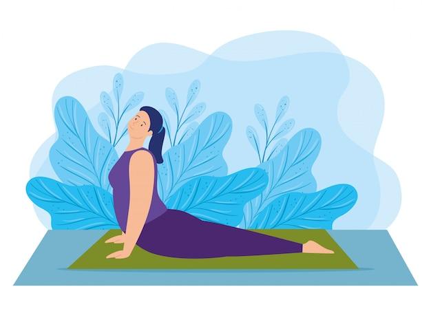Junge frau, die yoga mit blattdekorationsillustrationsdesign praktiziert