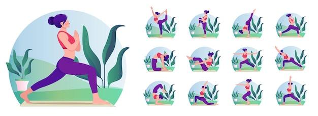 Junge frau, die yoga praktiziert, stellt frau workout fitness aerobic und übungen