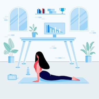 Junge frau, die yoga-übung im heimarbeitsplatz tut