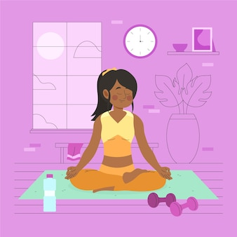 Junge frau, die yoga zu hause macht