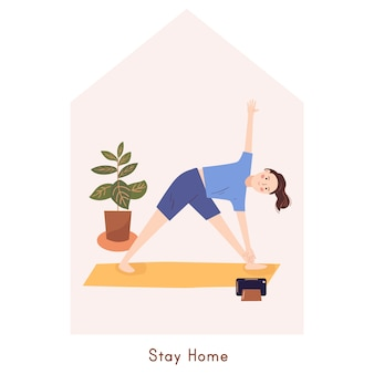 Junge frau, die yogaübung macht. zu hause bleiben konzept