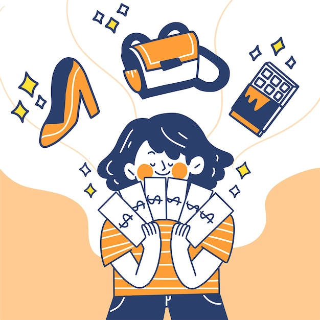 Junge frau gedanken über das ausgeben ihres gehalts kritzeln illustration