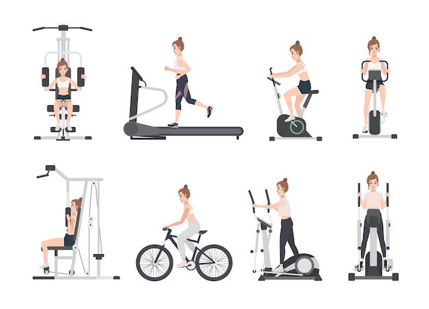 Junge frau gekleidet in fitnesskleidung, die sporttraining auf übungsmaschinen am fitnessstudio tut. weibliche zeichentrickfigur während des kraft- und gewichtsverlusttrainings
