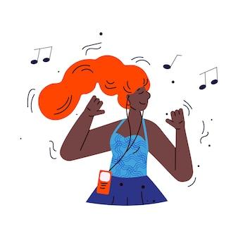 Junge frau hört musik mit smartphone-skizze-cartoon-vektor-illustration