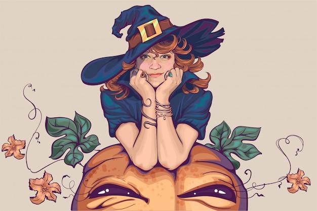 Junge frau im hexenkostüm. feiertag halloween cosplay