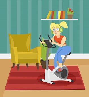 Junge frau im kopfhörertraining auf einem übungsrad auf dem hintergrund der wohnzimmerwohnungsillustration, karikaturart