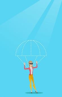 Junge frau im vr kopfhörerfliegen mit fallschirm