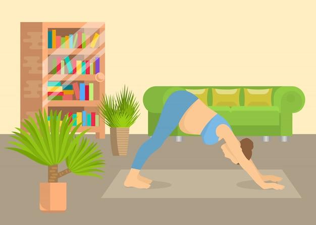Junge frau in der innenvektorillustration des wohnzimmers der yogalage zu hause. mädchen, das aerobicübung und morgenmeditation durchführt. körperliche und geistige yoga-praxis.