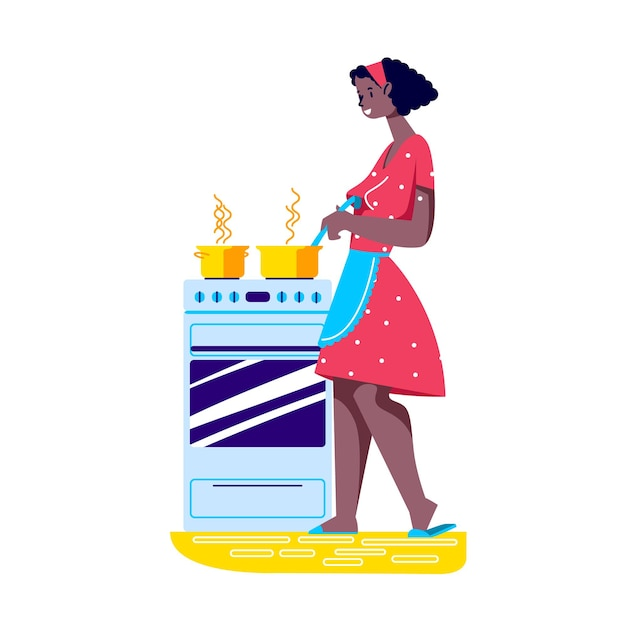 Junge frau in der schürze, die am kochenden herd steht, der abendessen oder abendessen für familie vorbereitet
