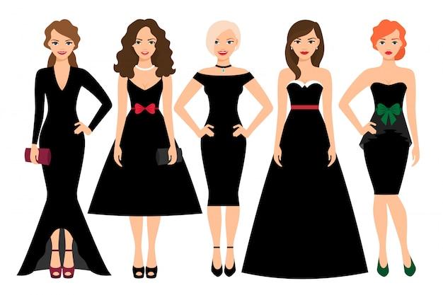 Junge frau in der unterschiedlichen schwarzen kleidervektorillustration. weibliches vorbildliches porträt der schwarzen mode lokalisiert
