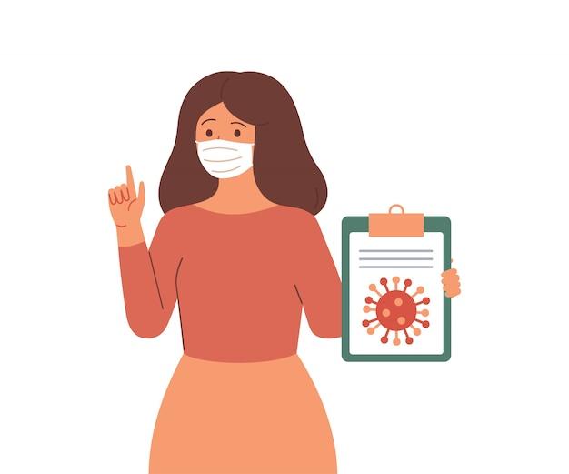 Junge frau in schützender gesichtsmaske berichtet informationen und nachrichten über die virale infektionskrankheit