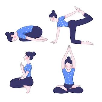 Junge frau in yoga-positionen-sammlung