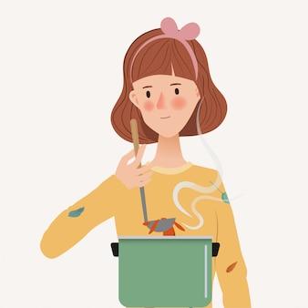 Junge frau isst suppe. probieren sie essen und kochen. hand gezeichneter charakter mit lebensstilleuten.