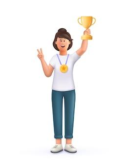 Junge frau jane champion hält goldenen siegerpokal, ausgezeichnet mit preis, preis gewinnen. konzept der zielerreichung feier. 3d-vektor-leute-charakter-illustration.