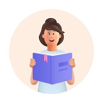 Junge frau jane liest ein buch, das 3d-vektorleute-charakterillustration studiert