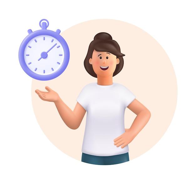 Junge frau jane stehend lächelnd auf timer 3d-vektor-leute-charakter-illustration zeigen