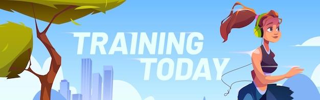 Junge frau läuft im stadtpark am morgen und trainiert heute banner