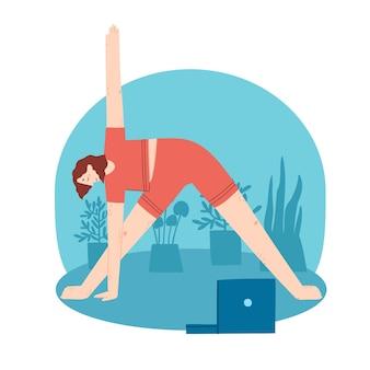 Junge frau macht yoga-übungen mit videokurs zu hauseinterior-hintergrund mit laptop-pflanzen