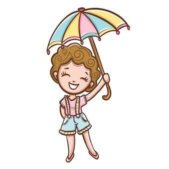 Junge frau mit buntem regenschirm