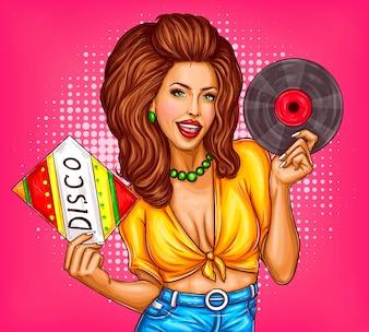 Junge Frau mit Disco-Vinyl-Schallplatte Pop-Art-Vektor