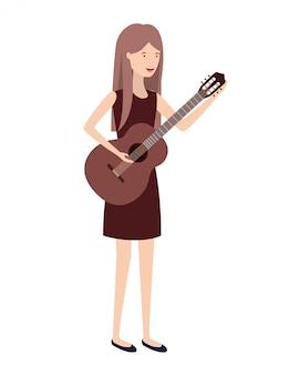 Junge frau mit gitarrencharakter