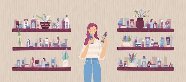 Junge frau mit kosmetikflaschen in den händen im laden vektor-cartoon-illustration